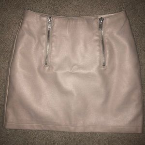 Pink Leather Mini Skirt with Zippers